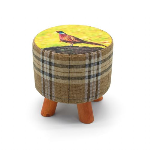 ROUND OTTOMAN FOOTSTOOL FOOTREST POUFFE PADDED CHAIR SEAT STOOL - PHEASANT  28 x 28cm